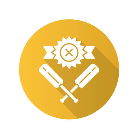 Cricket defeat flat design long shadow glyph icon. Total game result. Championship loss. Loser mark, crossed bats. Game over. Team battle finished. Sports activity. Vector silhouette illustration Ilustração