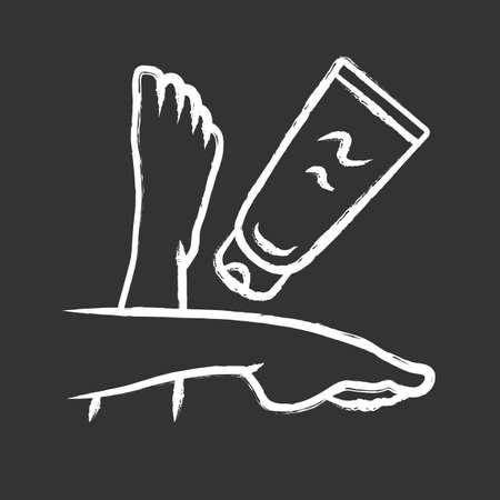 Feuchtigkeitsspendende Beincreme, Sonnencreme-Kreide-Symbol. Weibliche Hygiene, Körperpflege lokalisierte Vektortafelillustration. Kosmetik, Hautpflegeprodukt, Sonnenschutz. Frauenfüße und Lotionstube Vektorgrafik