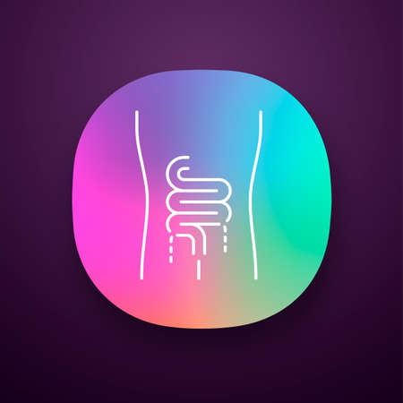Ill intestines app icon. Sore human organ. People disease. Unhealthy digestive system. Gastrointestinal tract. UIUX user interface. Web or mobile application. Vector isolated illustration