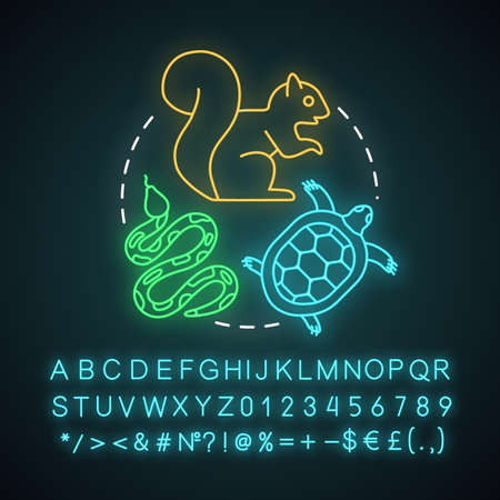 Zoo visiting neon light concept icon. Family time together idea. Kids learn about animals. Animal park, sanctuary, menagerie. Glowing sign, alphabet, numbers, symbols. Vector isolated illustration