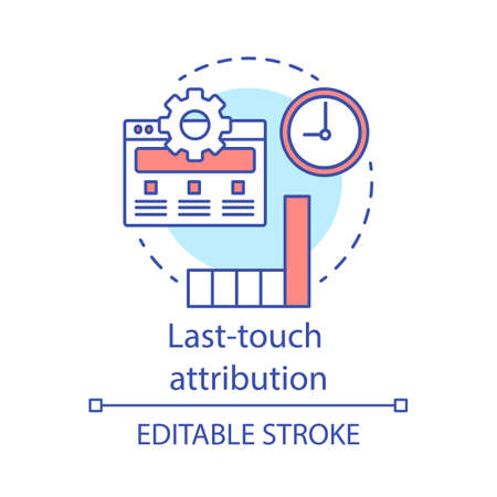Last-touch attribution concept icon. Marketing channel analysis idea thin line illustration. Attribution modeling type. Traffic and conversions. Vector isolated outline drawing. Editable stroke Illusztráció