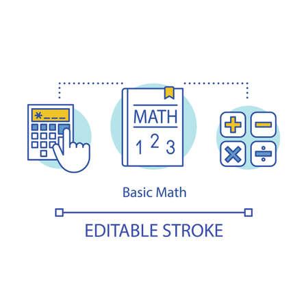 Basic maths concept icon. Solving math equation, using calculator idea thin line illustration. Studies, arithmetic lessons, courses Vector isolated outline drawing. Editable stroke Vektoros illusztráció