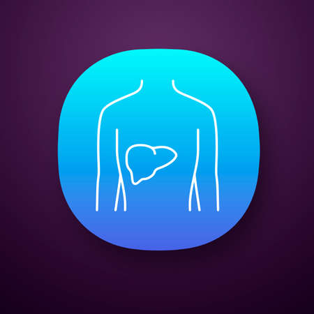 Healthy liver app icon. Human organ in good health. Functioning digestive gland. Wholesome gastrointestinal tract. UI/UX user interface. Web or mobile application. Vector isolated illustration