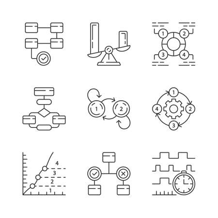Diagram concepts linear icons set. Data and process flow visualization. Information symbolic representation. Thin line contour symbols. Isolated vector outline illustrations. Editable stroke Standard-Bild - 128640019