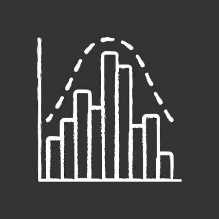 Histogram chalk icon. Diagram. Business trade info. Financial analytics. Data visualization. Symbolic representation of information. Report in visible form. Isolated vector chalkboard illustration