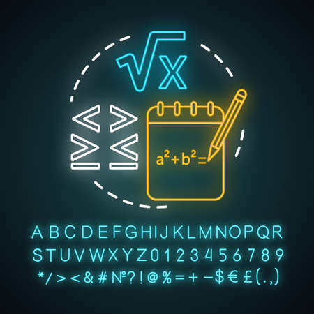 Algebra neon light concept icon. Advanced calculations, learning algebra idea. Algebraic equations, more and less sign. Glowing sign with alphabet, numbers and symbols. Vector isolated illustration Ilustração