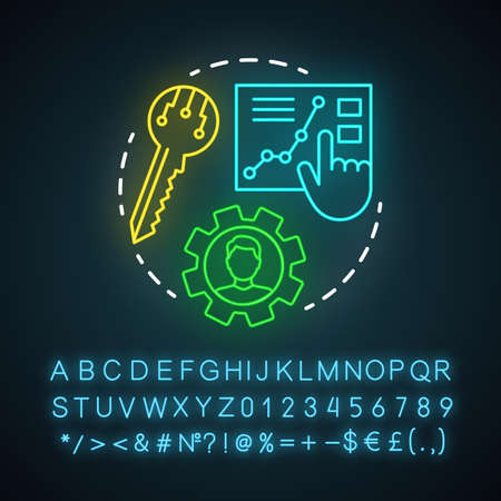 SEO manager neon light icon. Digital marketing specialty. Search engine optimization. Website traffic increasing. Glowing sign with alphabet, numbers and symbols. Vector isolated illustration