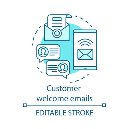 Customer welcome emails blue concept icon. Greeting message idea thin line illustration. Email marketing. New subscriber. Communication. Vector isolated outline drawing. Editable stroke