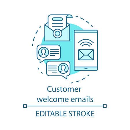 Icône de concept bleu d'e-mails de bienvenue du client. Message de salutation idée fine ligne illustration. Publicité par e-mail. Nouvel abonné. La communication. Dessin de contour isolé de vecteur. Trait modifiable