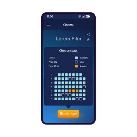 Cinema tickets booking smartphone interface vector template. Mobile app page blue design layout. Movie theater seats selection screen. Flat UI for application. Concert tickets purchase. Phone display Ilustração