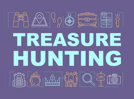 Treasure hunting word concepts banner. Family time together. Geocaching. Presentation, website. Search for treasure. Isolated lettering typography idea, linear icons. Vector outline illustration