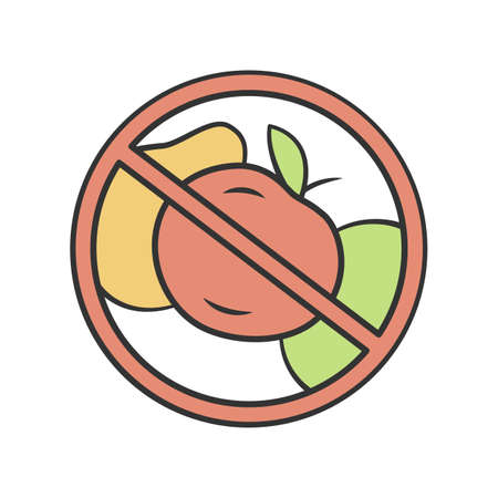 No fruit diet color icon. High fiber and vitamin containing product. Fructose and glucose free dietary food sticker. No vegetables carnivore eating. Keto diet isolated vector illustration