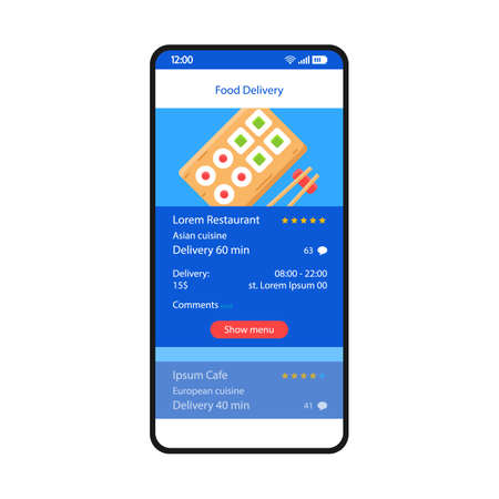 Food delivery smartphone interface vector template. Mobile app page blue design layout. Online chinese food ordering screen. Flat UI for application. Sushi bar, restaurant menu. Phone display