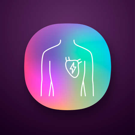 Ill heart app icon. Sore human organ. People disease. Unhealthy cardiovascular system. Sick internal body part. UIUX user interface. Web or mobile application. Vector isolated illustration Illustration