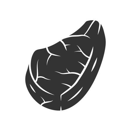 Icona del glifo con bistecca. Carne da macellaio. Bistecca di manzo. Produzione e vendita carne. Ingrediente per pranzo e barbecue. Fonte proteica. Affari di macelleria. Simbolo di sagoma. Spazio negativo. Illustrazione vettoriale isolato Vettoriali
