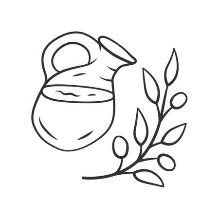 Herbal ice tea jar linear icon. Summer natural refreshing drink. Thin line illustration. Organic beverage contour symbol. Glass jug and plant branch. Vector isolated outline drawing. Editable stroke
