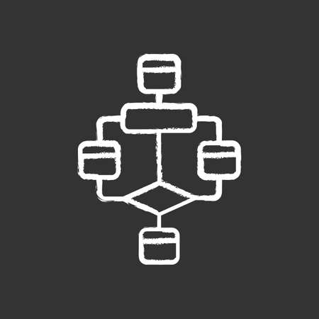 Flowchart chalk icon. Diagram. Visualization of process. Problem solving stages. Graphical representation of algorithm. Program logic sequence. Isolated vector chalkboard illustration