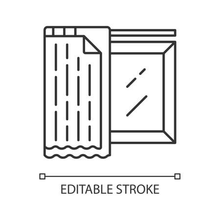 Liner shades linear icon. House furnishing. Home interior design. Window coverings, treatments. Blackout liner. Thin line illustration. Contour symbol. Vector isolated outline drawing. Editable stroke