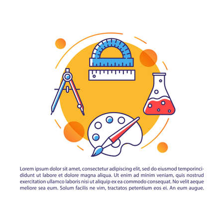 School equipment article page vector template. Pupils stationery. Brochure, magazine, booklet design element with linear icons and text boxes. Print design. Concept illustrations with text space Illustration