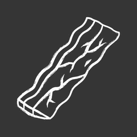 Bacon chalk icon. Butchers meat. Roasted sowbelly. Piece of lard. Yummy rasher. Meat production and sale. Butchery business. Isolated vector chalkboard illustration