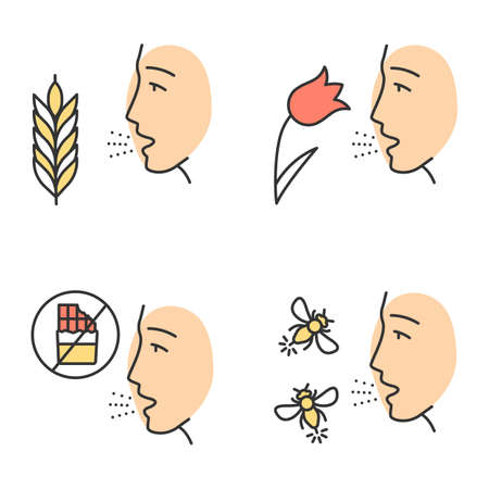 Allergies color icons set. Hay fever, allergy to food and insects stings. Sensitivity of immune system. Allergen sources. Medical problem. Cause of swelling, anaphylaxis. Isolated vector illustrations