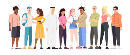 Multinational students group flat vector illustration. Multiracial community members cartoon characters. International cooperation. Racial tolerance and cultural diversity in globalized world