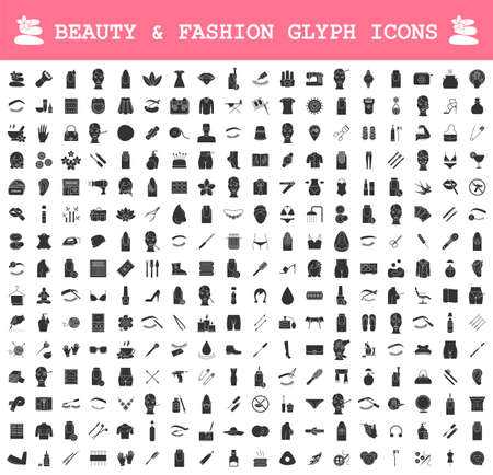 Beauty and fashion industry glyph icons big set. Cosmetics, plastic surgery, spa, manicure, clothes and accessories. Skincare, body care products. Silhouette symbols. Vector isolated illustration