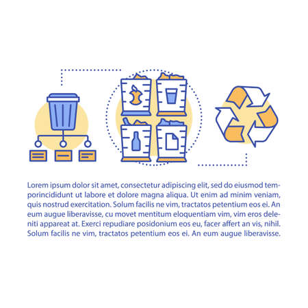 Zero waste lifestyle article page vector template. Brochure, magazine, booklet design element with linear icons and text boxes. Waste management. Print design. Concept illustrations with text space