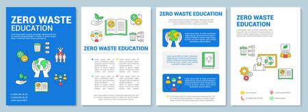 Layout del modello di brochure per l'istruzione a zero rifiuti. Volantino scolastico ecologico, opuscolo, stampa di volantini con illustrazioni lineari. Layout di pagina vettoriale per riviste, relazioni annuali, manifesti pubblicitari