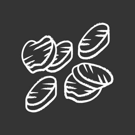 Grilled vegetables slices chalk icon. Roasted vegetarian food. Healthy nutrition. Restaurant, cafe menu. Grilled dish, assorted vegetables barbecue. Isolated vector chalkboard illustration Archivio Fotografico - 128640724