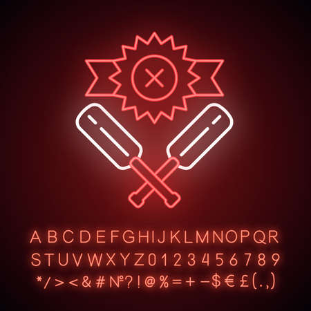 Cricket defeat neon light icon. Total game result. Championship loss. Loser mark, crossed bats. Game over. Match draw. Glowing sign with alphabet, numbers and symbols. Vector isolated illustration