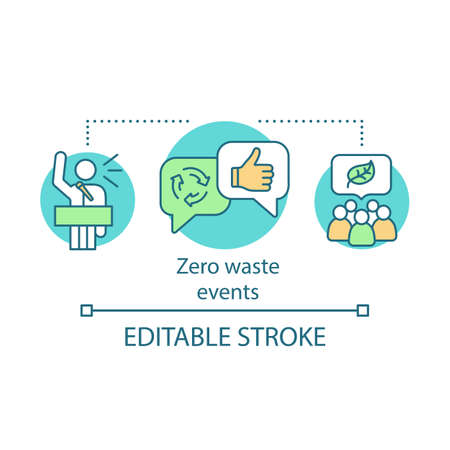 Zero waste choices and events concept icon. Waste management, eco friendly lifestyle idea thin line illustration. Ecological meeting, protest. Vector isolated outline drawing. Editable stroke