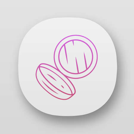 Face powder, blush case app icon. UIUX user interface. Women facial makeup attribute. Web or mobile application. Vector isolated illustration. Personal cosmetic tool, eyeshadow box with mirror