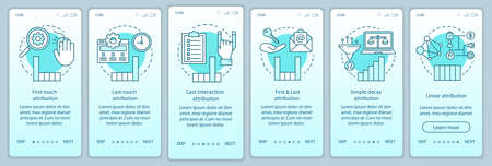 Attribution modeling types turquoise onboarding mobile app page screen vector template. Diagrams, charts walkthrough website steps with linear illustrations. UX, UI, GUI smartphone interface concept Banque d'images - 129558828