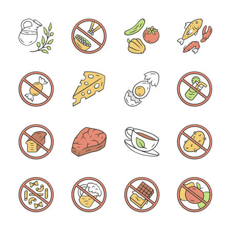 Keto diet color icons set. Low carbs and healthy eating. High fat and protein products. Alcohol, sugar free food labels. Fish, veggies, natural herbal drink isolated vector illustrations