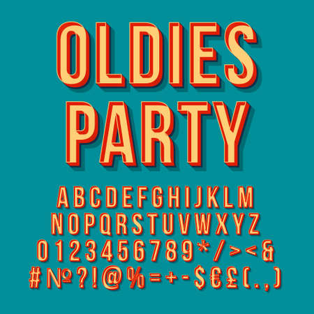 Oldies party vintage 3d vector lettering. Retro bold font, typeface. Pop art stylized text. Old school style letters, numbers, symbols, elements. 90s, 80s poster, banner. Pine color background