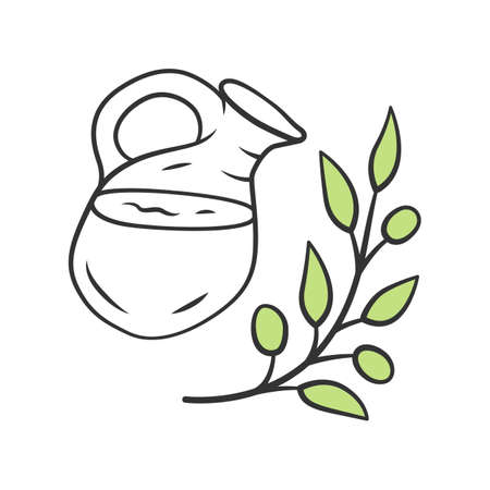 Herbal ice tea jar color icon. Summer natural refreshing drink. Organic and eco beverage. Water, juice jug with mint. Glass jug and plant branch with leaves isolated vector illustration  イラスト・ベクター素材