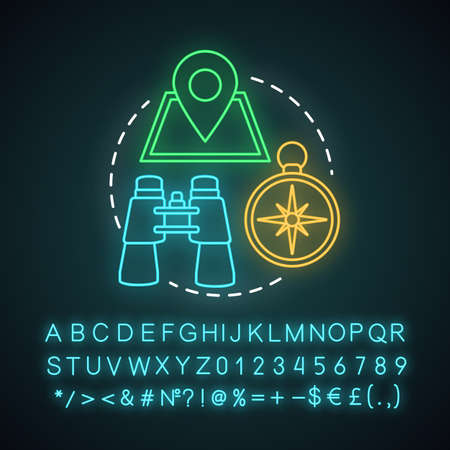 Treasure hunting neon light concept icon. Family time together idea. Geocaching. Searching for retrieve artifacts. Glowing sign with alphabet, numbers and symbols. Vector isolated illustration