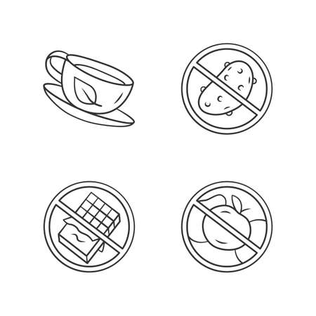 Low carbs linear icons set. No fructose and glucose, diabetic products. Thin line contour symbols. Sugar free food and healthy eating. Isolated vector outline illustrations. Editable stroke