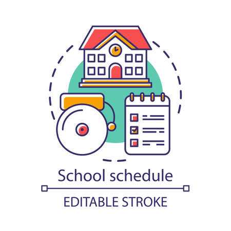 School schedule, timetable concept icon. Educational process organization idea thin line illustration. Schoolhouse, bell and notepad with notes vector isolated outline drawing. Editable stroke Illustration