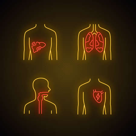 Ill human organs neon light icons set.  Sore liver and lungs. Aching throat. Unhealthy heart. Sick internal body parts. Glowing signs. Vector isolated illustrations