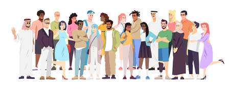 Illustration vectorielle plane de diversité démographique. Représentants de différentes nations se tenant ensemble. Coopération de mots arabes, européens, hispaniques. Société multiethnique, communauté mondialisée Vecteurs