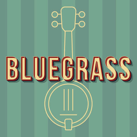 Bluegrass vintage 3d vector lettering. Retro bold font, typeface. Pop art stylized text. Old school style letters. 90s, 80s poster, banner. Green shades stripes color background