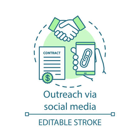 Outreach via social media concept icon. Social networks idea thin line illustration. Online PR. Brand awareness. Build new relationships. Vector isolated outline drawing. Editable stroke Illustration