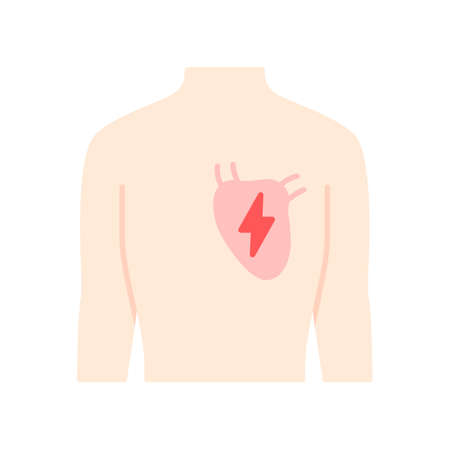 Ill heart  flat design long shadow color icon. Sore human organ. People disease. Unhealthy cardiovascular system. Sick internal body part. Physical health. Vector silhouette illustration