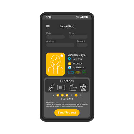 Babysitting app smartphone interface template. Mobile choosing babysitter website design layout. Nanny reservation screen. Childcare service application page UI. Babysitters profiles. Phone display