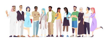 Illustration vectorielle plate de la communauté multiculturelle. Personnages de dessins animés de représentants de différentes nationalités. Paix internationale, coopération, partenariat. La diversité nationale dans la société moderne