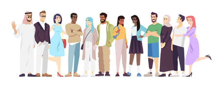 Multicultural community flat vector illustration. Different nationalities representatives cartoon characters. International peace, cooperation, partnership. National diversity in modern society