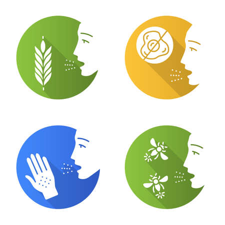 Allergies flat design long shadow glyph icons set. A allergy to food, latex, and insects stings. Allergen sources. Medical problem. Cause of swelling, anaphylaxis. Vector silhouette illustration