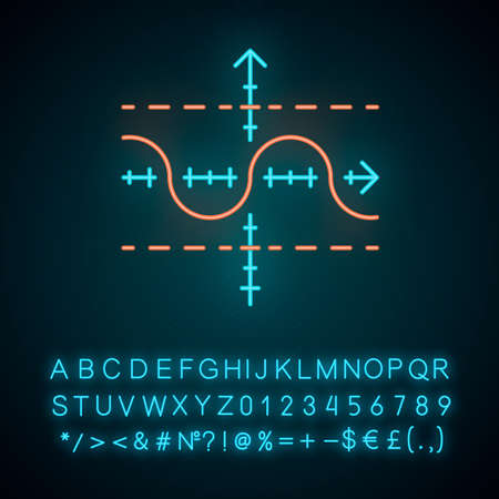 Function graph neon light icon. Duplicate function. Sinusoid. Sine curve. Diagram. Math graph. Acoustic, light wave. Glowing sign with alphabet, numbers and symbols. Vector isolated illustration
